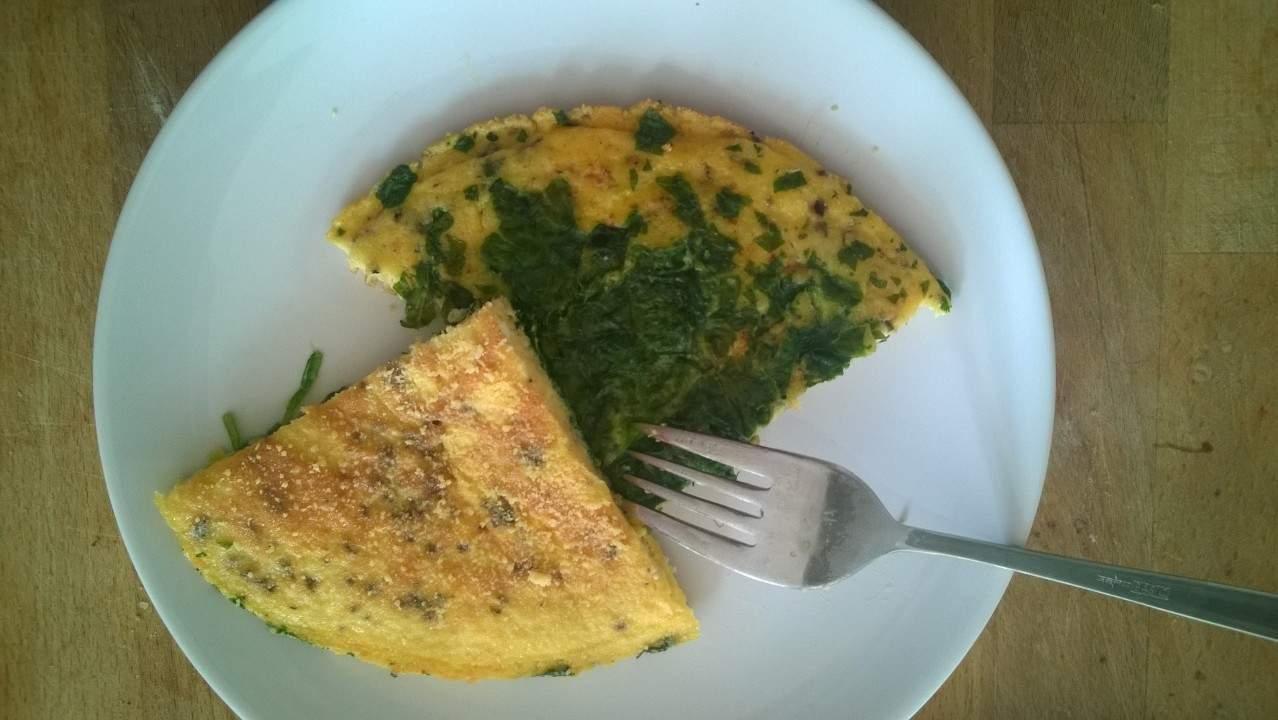 Ook lekker als lunch: een omelet met spinazie!