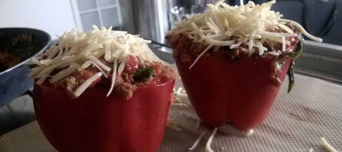 Recept gevulde paprika's nodig? Lekkerrrr met veel eiwit!