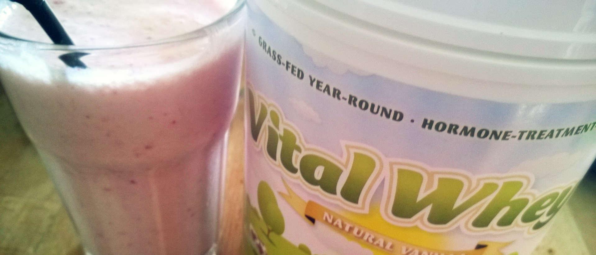 Voor deze smoothie gebruikte ik vital whey vanille als eiwitpoeder.