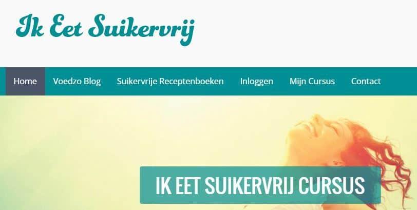 Een screenshot van de website ikeetsuikervrij.nl.