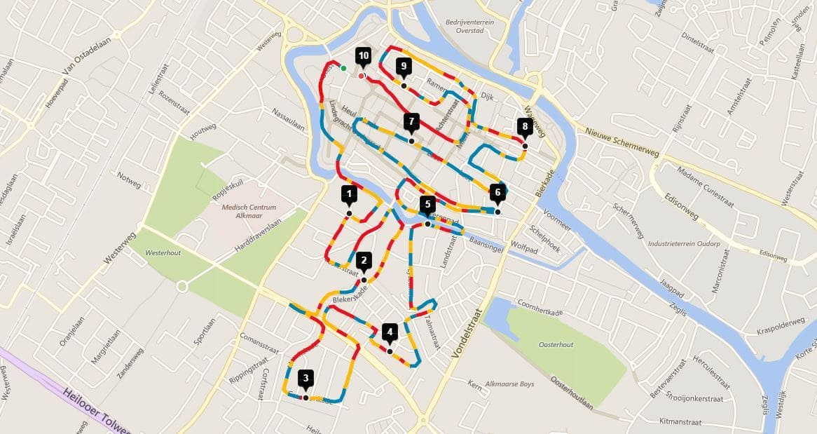 Het parcours van de Alkmaar City Run 2016
